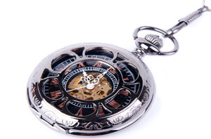 Skeleton Black Pocket Watch Chain